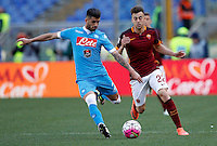 Calcio, Serie A: Roma vs Napoli. Roma, stadio Olimpico, 25 aprile 2016.<br /> Napoli&rsquo;s Elseid Hysaj, left, is chased by Roma&rsquo;s Stephan El Shaarawy during the Italian Serie A football match between Roma and Napoli at Rome's Olympic stadium, 25 April 2016.<br /> UPDATE IMAGES PRESS/Riccardo De Luca