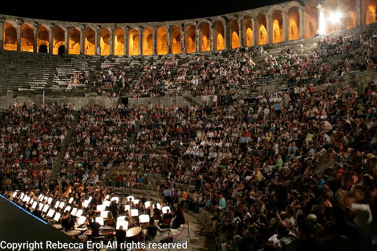 The audience at the Aspendos international ballet and opera festival, Antalya, Turkey