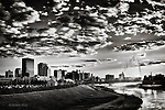 Dramatic Clouds & Skyline view of Dayton Ohio in Black & white