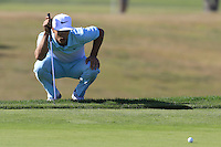 Thorbjorn Olesen (DEN) lines up his putt on the 9th green during Thursday's Round 1 of the 2016 Portugal Masters held at the Oceanico Victoria Golf Course, Vilamoura, Algarve, Portugal. 19th October 2016.<br /> Picture: Eoin Clarke   Golffile<br /> <br /> <br /> All photos usage must carry mandatory copyright credit (© Golffile   Eoin Clarke)