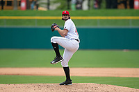 Indianapolis Indians relief pitcher Clay Holmes (46) during an International League game against the Columbus Clippers on April 30, 2019 at Victory Field in Indianapolis, Indiana. Columbus defeated Indianapolis 7-6. (Zachary Lucy/Four Seam Images)