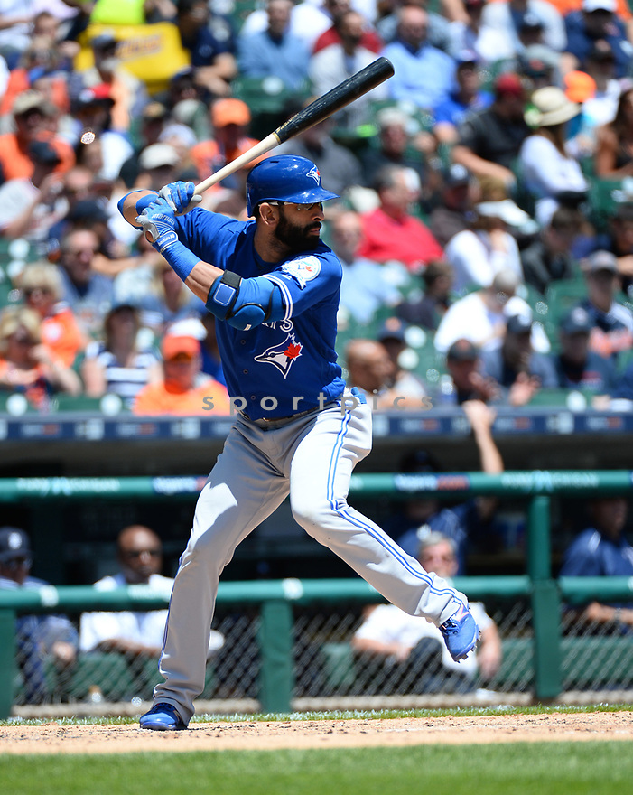 Toronto Blue Jays Jose Bautista (19) during a game against the Detroit Tigers on June 8, 2016 at Comerica Park in Detroit MI. The Blue Jays beat the Tigers 7-2.