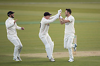 Brooke Guest and Glenn Maxwell rush to congratulate James Anderson on the wicket of Nick Gubbins during Middlesex CCC vs Lancashire CCC, Specsavers County Championship Division 2 Cricket at Lord's Cricket Ground on 13th April 2019