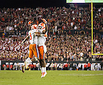 Clemson running back Wayne Gallman (9) and wide receiver Mike Williams celebrate Gallman's touchdown against Alabama in the second half of the 2017 College Football Playoff National Championship in Tampa, Florida on January 9, 2017.  Clemson defeated Alabama 35-31. Photo by Mark Wallheiser/UPI