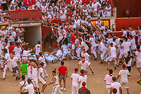 Europe,Spain,Pamplona,San Firmin festival 2018, Encierro,, the bulls run into the square, jumping over a group of runners lying down on the ground