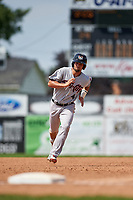 Tri-City ValleyCats left fielder J.J. Matijevic (4) runs the bases during a game against the Batavia Muckdogs on July 16, 2017 at Dwyer Stadium in Batavia, New York.  Tri-City defeated Batavia 13-8.  (Mike Janes/Four Seam Images)