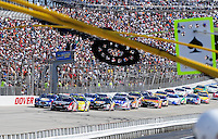 Sept. 20, 2008; Dover, DE, USA; Nascar Nationwide Series driver Kyle Busch (18) leads the field to the green flag during the Camping World RV 200 at Dover International Speedway. Mandatory Credit: Mark J. Rebilas-
