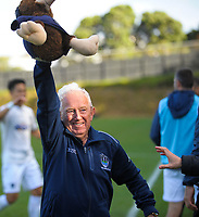 Auckland City FC property steward Arthur Egan celebrates Ryan de Vries' goal during the Oceania Football Championship final (second leg) football match between Team Wellington and Auckland City FC at David Farrington Park in Wellington, New Zealand on Sunday, 7 May 2017. Photo: Dave Lintott / lintottphoto.co.nz