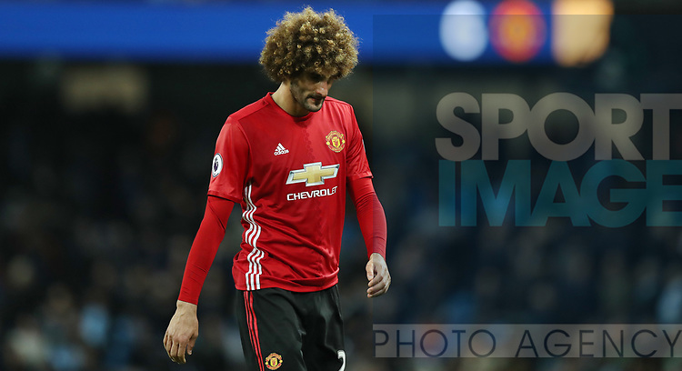 Marouane Fellaini of Manchester United reacts after he is sent off by referee Martin Atkinson during the English Premier League match at The Etihad Stadium, Manchester. Picture date: April 27th, 2016. Photo credit should read: Lynne Cameron/Sportimage