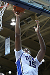 26 November 2014: Duke's Jahlil Okafor. The Duke University Blue Devils hosted the Furman University Paladins at Cameron Indoor Stadium in Durham, North Carolina in a 2014-16 NCAA Men's Basketball Division I game. Duke won the game 93-54.