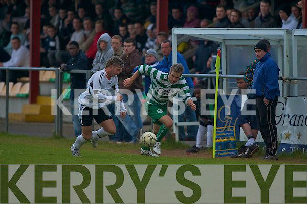Lisselton Rovers Stephen Conway and Killarney Celtic's Padraig O'Connor.   Copyright Kerry's Eye 2008