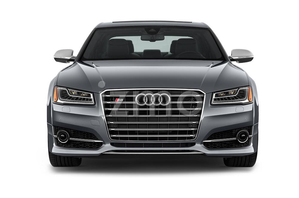 Car photography straight front view of a 2016 Audi S8 4.0-TFSI-quattro-Tiptronic-Plus  4 Door Sedan
