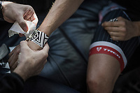 Boy van Poppel's (NED/Trek-Segafredo) wrists taped in by the team doctor pre-race<br /> <br /> 115th Paris-Roubaix 2017 (1.UWT)<br /> One Day Race: Compiègne › Roubaix (257km)