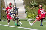 Costa Mesa, CA 03/08/14 - Stephen O'Hara (Notre Dame #4), Jack Bobzien (Denver #11) and Zach Miller (Denver #33) in action during the Notre Dame Irish and Denver Pioneers NCAA Men's lacrosse game at LeBard Stadium in Costa Mesa, California as part of the 2014 Pacific Coast Shootout.  Denver defeated Notre Dame 10-7 in front of a crowd of over 5800 spectators.