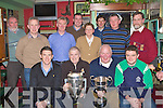 St Pats celebrating with Killkenny player Derek Lyng and the Liam McCarthy cup at their awards night in Jimmy O'Brien's bar Killarney on Monday night front row l-r: Derek Lyng, Pat Delaney, John Wickham, Jamie Lenihan. Back row: Neilus McCarthy, Declan Kelly, John O'Leary, Tomas Barry, Bridie Cronin, Brendan Mulhern, Fergal Clarke and Pat O'Brien