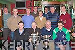 St Pats celebrating with Killkenny player Derek Lyng and the Liam McCarthy cup at their awards night in Jimmy O'Brien's bar Killarney on Monday night front row l-r: Derek Lyng, Pat Delaney, John Wickham, Jamie Lenihan. Back row: Neilus McCarthy, Declan Kelly, John O'Leary, Tomas Barry, Bridie Cronin, Brendan Mulhern, Fergal Clarke and Pat O'Brien