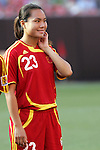 16 June 2007: China's Zhou Gaoping, pregame. The United States Women's National Team defeated the Women's National Team of China 2-0 at Cleveland Browns Stadium in Cleveland, Ohio in an international friendly game.