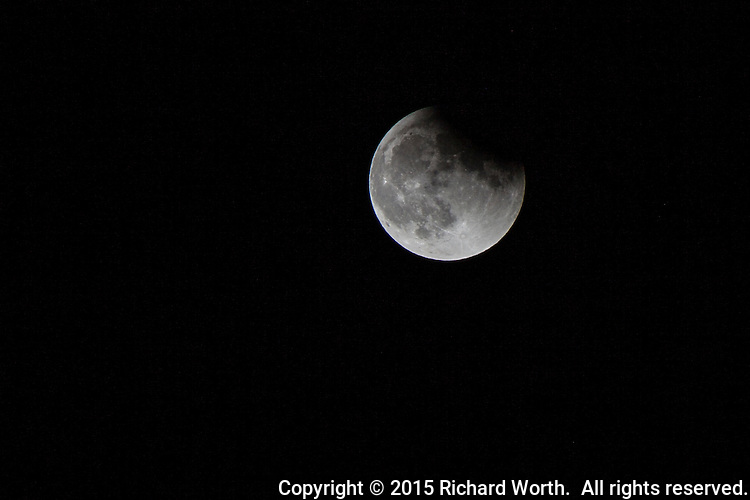 Near the end of the lunar eclipse on September 27, 2015