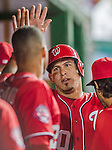 22 August 2015: Washington Nationals catcher Wilson Ramos returns to the dugout after scoring against the Milwaukee Brewers at Nationals Park in Washington, DC. The Nationals defeated the Brewers 6-1 in the second game of their 3-game weekend series. Mandatory Credit: Ed Wolfstein Photo *** RAW (NEF) Image File Available ***