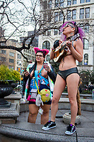 NEW YORK, NY - JANUARY 12: Participants of the No Pants Subway Ride dance and sing at Union square after taking a ride on the NYC subway system on January 12, 2020 in New York. The annual event, in which participants board a subway car in January while not wearing any pants while behaving as though they do not know each other, began as a joke by the public prank group Improv Everywhere in New York City and has since spread around the world, with enthusiasts in around 60 cities and 29 countries across the globe, according to the organization's site.   (Photo by Pablo Monsalve/VIEWpress)
