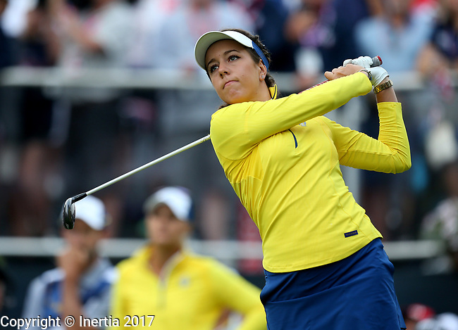 DES MOINES, IA - AUGUST 19: Europe's Georgia Hall tees off on the first hole during Saturday morning's foursomes match at the 2017 Solheim Cup in Des Moines, IA. (Photo by Dave Eggen/Inertia)