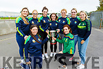 Members of the victorious All Ireland winning Kerry camogie team visiting Causeway Comprehensive School on Tuesday.<br /> Kneeling: Aoife Fitzgerald and Jessica Fitzell. Standing l to r: Megan Weir, Michelle Costello, Niamh Leen, Brid Horan, Laura Collins, Elaine Ryal and Eilish Harrington