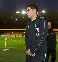 4th January 2020; Molineux Stadium, Wolverhampton, West Midlands, England; English FA Cup Football, Wolverhampton Wanderers versus Manchester United; Raul Jimenez of Wolverhampton Wanderers inspecting the pitch before the match - Strictly Editorial Use Only. No use with unauthorized audio, video, data, fixture lists, club/league logos or 'live' services. Online in-match use limited to 120 images, no video emulation. No use in betting, games or single club/league/player publications
