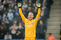 Goalkeeper Kasper Schmeichel of Leicester City celebrates his teams first goal during the Premier League match between Leicester City and Newcastle United at the King Power Stadium, Leicester, England on 29 September 2019. Photo by Andy Rowland.