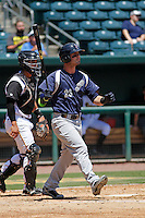 Pensacola Blue Wahoos outfielder Jesse Winkler (23) in action during a game against the Jacksonville Suns at Bragan Field on the Baseball Grounds of Jacksonville on May 11, 2015 in Jacksonville, Florida. Jacksonville defeated Pensacola 5-4. (Robert Gurganus/Four Seam Images)
