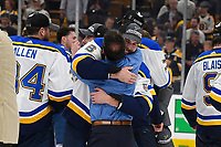 June 12, 2019: St. Louis Blues defenseman Joel Edmundson (6) celebrates at game 7 of the NHL Stanley Cup Finals between the St Louis Blues and the Boston Bruins held at TD Garden, in Boston, Mass.  The Saint Louis Blues defeat the Boston Bruins 4-1 in game 7 to win the 2019 Stanley Cup Championship.  Eric Canha/CSM.