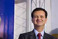 SÃO PAULO,SP, 04-11-13 - FILIAÇÃO DE CESÁRIO RAMALHO AO PSD  - O presidente nacional do PSD, ex-prefeito de São Paulo Gilberto Kassab durante a solenidade de filiação de um dos líderes do setor agropecuário nacional, Cesário Ramalho da Silva, nesta segunda-feira (04) no auditório do PSD-SP, região central de São Paulo a Cerimonia teve a presença do ministro Guilherme Afif. (Foto: Marcelo Brammer/Brazil Photo Press)
