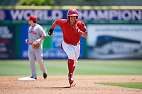 Clearwater Threshers Jose Gomez (3) runs to third base after tagging up during a Florida State League game against the Florida Fire Frogs on April 24, 2019 at Spectrum Field in Clearwater, Florida.  Clearwater defeated Florida 13-1.  (Mike Janes/Four Seam Images)