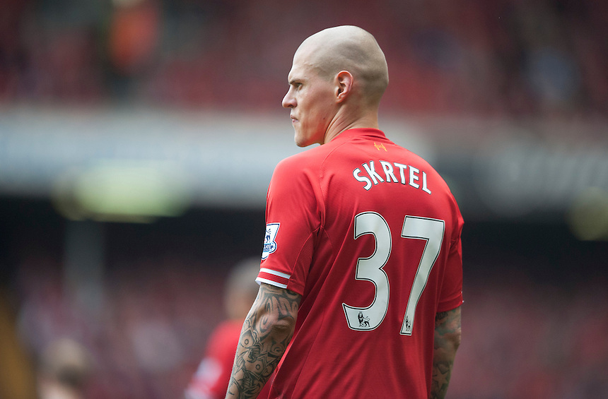Liverpool's Martin Skrtel<br /> <br /> Photo by Stephen White/CameraSport<br /> <br /> Football - Barclays Premiership - Liverpool v Tottenham Hotspur	 - Sunday 30th March 2014 - Anfield - Liverpool<br /> <br /> &copy; CameraSport - 43 Linden Ave. Countesthorpe. Leicester. England. LE8 5PG - Tel: +44 (0) 116 277 4147 - admin@camerasport.com - www.camerasport.com