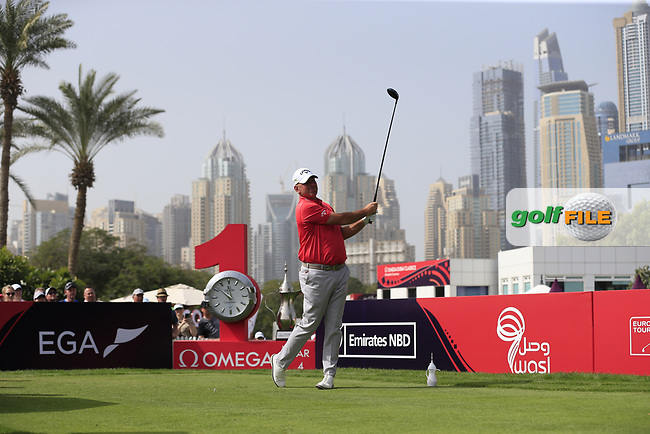 Thomas Bjorn (DEN) on the 1st tee during Round 2 of the Omega Dubai Desert Classic, Emirates Golf Club, Dubai,  United Arab Emirates. 25/01/2019<br /> Picture: Golffile   Thos Caffrey<br /> <br /> <br /> All photo usage must carry mandatory copyright credit (© Golffile   Thos Caffrey)