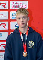 Picture by Allan McKenzie/SWpix.com - 05/08/2017 - Swimming - Swim England National Summer Meet 2017 - Ponds Forge International Sports Centre, Sheffield, England - Ethan Grace-Riches takes bronze in the mens 13/14yrs 50m breaststroke.