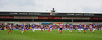A general view of Sincil Bank, home of Lincoln City FC showing a TV cameraman<br /> <br /> Photographer Andrew Vaughan/CameraSport<br /> <br /> The EFL Sky Bet League Two Play Off First Leg - Lincoln City v Exeter City - Saturday 12th May 2018 - Sincil Bank - Lincoln<br /> <br /> World Copyright &copy; 2018 CameraSport. All rights reserved. 43 Linden Ave. Countesthorpe. Leicester. England. LE8 5PG - Tel: +44 (0) 116 277 4147 - admin@camerasport.com - www.camerasport.com
