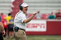 Hawgs Illustrated/BEN GOFF <br /> Chad Morris, Arkansas head coach, in the fourth quarter Saturday, April 6, 2019, during the Arkansas Red-White game at Reynolds Razorback Stadium.