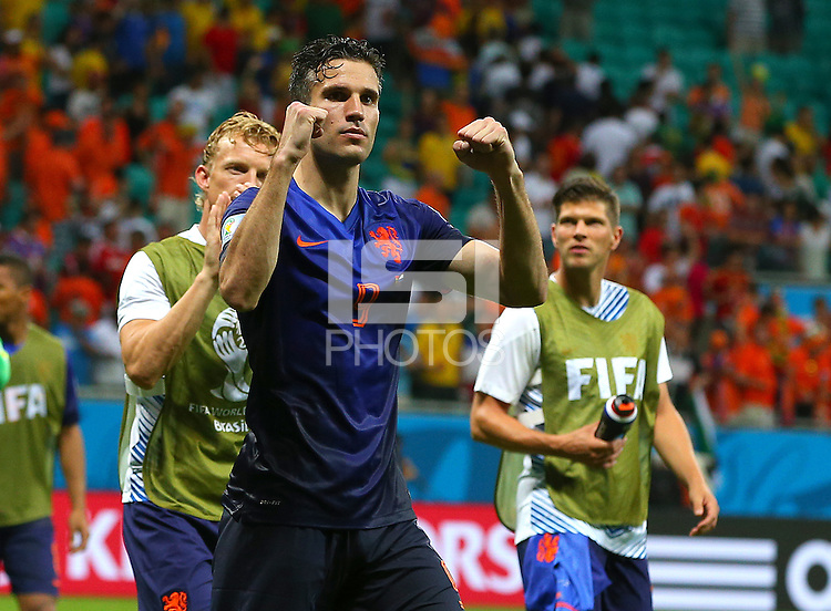Robin Van Persie of Netherlands celebrates at full time