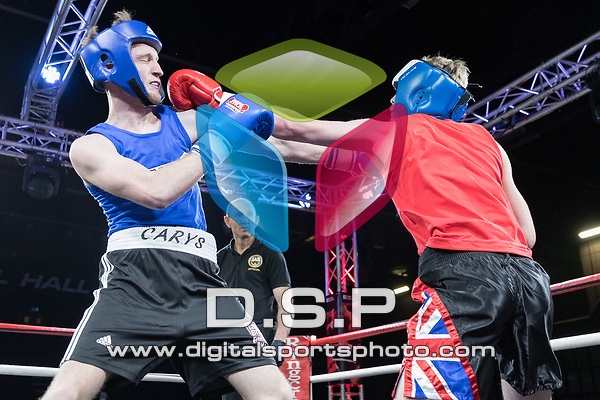 Callum Doyle vs James Watt 3 x 2 Contest During EWCB: A Night of Charity Boxing. Photo by: Simon Downing.<br /> <br /> Sunday December 3rd 2017 - Brentwood Centre, Brentwood, Essex, United Kingdom.