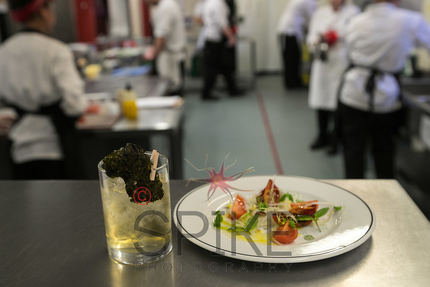 A Seaweed Sour cocktail with Smoked tomato, Shaved fennel and Kohl Rabi plate