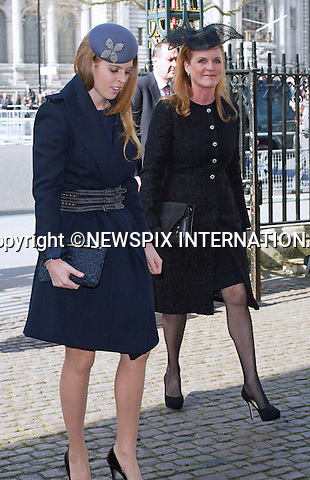 PRINCESS BEATRICE AND MOTHER SARAH, DUCHESS OF YORK<br /> attend Sir David Frost Memorial Service, Westminster Abbey, London_13/03/2014<br /> Mandatory Credit Photo: &copy;Dias/NEWSPIX INTERNATIONAL<br /> <br /> **ALL FEES PAYABLE TO: &quot;NEWSPIX INTERNATIONAL&quot;**<br /> <br /> IMMEDIATE CONFIRMATION OF USAGE REQUIRED:<br /> Newspix International, 31 Chinnery Hill, Bishop's Stortford, ENGLAND CM23 3PS<br /> Tel:+441279 324672  ; Fax: +441279656877<br /> Mobile:  07775681153<br /> e-mail: info@newspixinternational.co.uk
