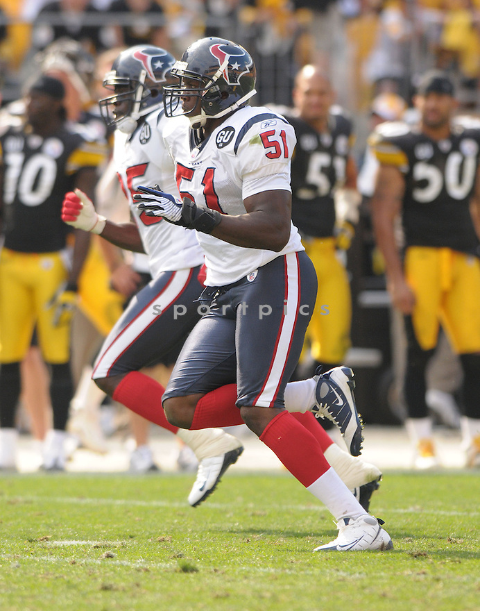 CHAUN THOMPSON, of the Houston Texans, in action during the Texans, game against the Pittsburgh Steelers  in Pittsburgh, Pennsylvania on September 7, 2008..The Pittsburgh Steelers won 38-17