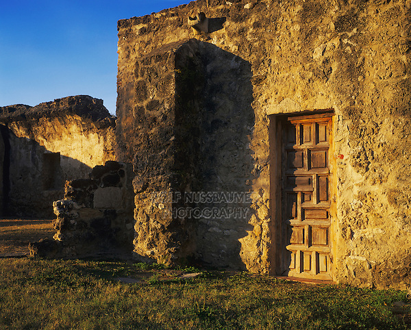 Mission Concepción wood door, San Antonio Missions National Historic Park, San Antonio,Texas, USA, January 2006