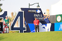 Danny Willett (ENG) on the 14th tee during the Pro-Am for the DP World Tour Championship at the Jumeirah Golf Estates in Dubai, UAE on Monday 16/11/15.<br /> Picture: Golffile | Thos Caffrey<br /> <br /> All photo usage must carry mandatory copyright credit (&copy; Golffile | Thos Caffrey)