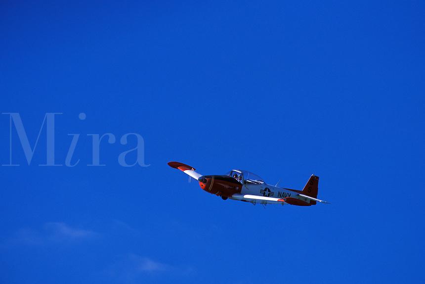 Navy airplane in flight.