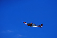 Navy airplane in flight.