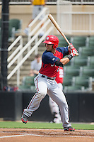 Jose Marmolejos-Diaz (6) of the Hagerstown Suns at bat against the Kannapolis Intimidators at CMC-Northeast Stadium on August 16, 2015 in Kannapolis, North Carolina.  The Suns defeated the Intimidators 7-2 in game one of a double-header.  (Brian Westerholt/Four Seam Images)