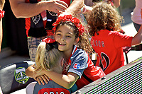 Portland, OR - Saturday September 02, 2017: Portland Thorns FC fans celebrate after a regular season National Women's Soccer League (NWSL) match between the Portland Thorns FC and the Washington Spirit at Providence Park.