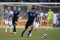 SAN JOSE, CA - JULY 16: Marcos Lopez #27 of the San Jose Earthquakes during a friendly match between the San Jose Earthquakes and Real Valladolid on July 16, 2019 at Avaya Stadium in San Jose, California.