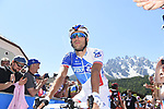 Thibaut Pinot (FRA) FDJ at sign on before the start of Stage 19 of the 100th edition of the Giro d'Italia 2017, running 191km from San Candido/Innichen to Piancavallo, Italy. 26th May 2017.<br /> Picture: LaPresse/Fabio Ferrari | Cyclefile<br /> <br /> <br /> All photos usage must carry mandatory copyright credit (&copy; Cyclefile | LaPresse/Fabio Ferrari)